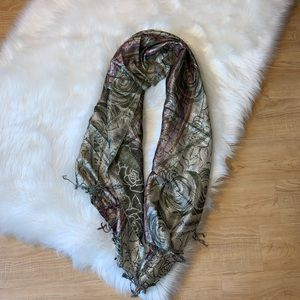 Sparkly floral print scarf